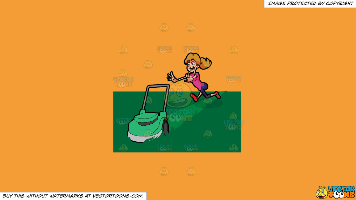 A Terrified Woman Running After A Lawn Mower On A Solid Deep Saffron Gold F49d37 Background thumbnail