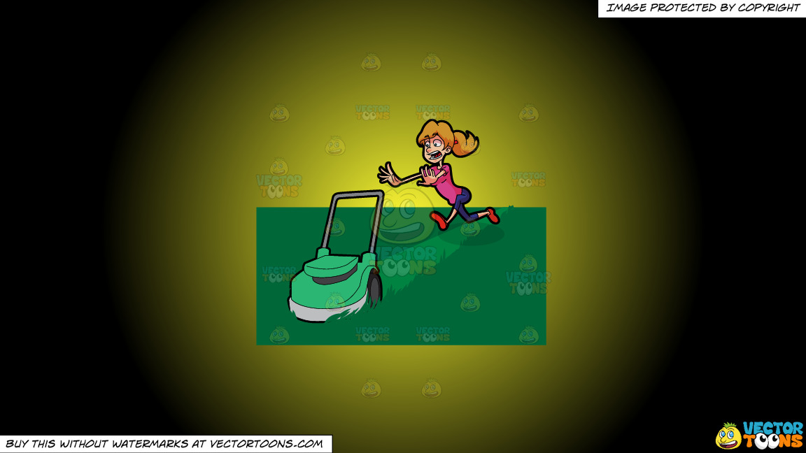 A Terrified Woman Running After A Lawn Mower On A Yellow And Black Gradient Background thumbnail