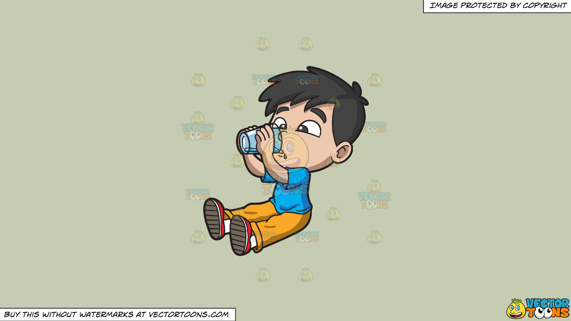 A Thirsty Young Boy Drinking Water On A Solid Pale Silver C6ccb2 Background thumbnail