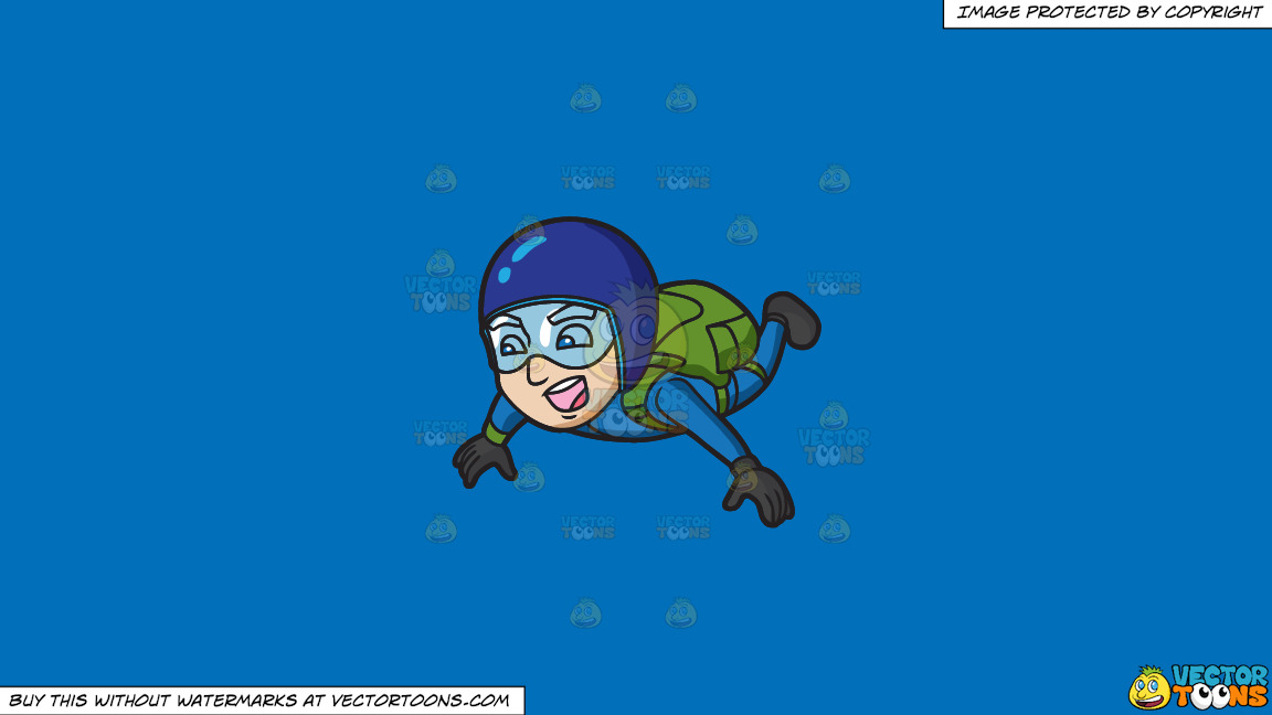 A Thrilled And Screaming Male Skydiver On A Solid Spanish Blue 016fb9 Background thumbnail