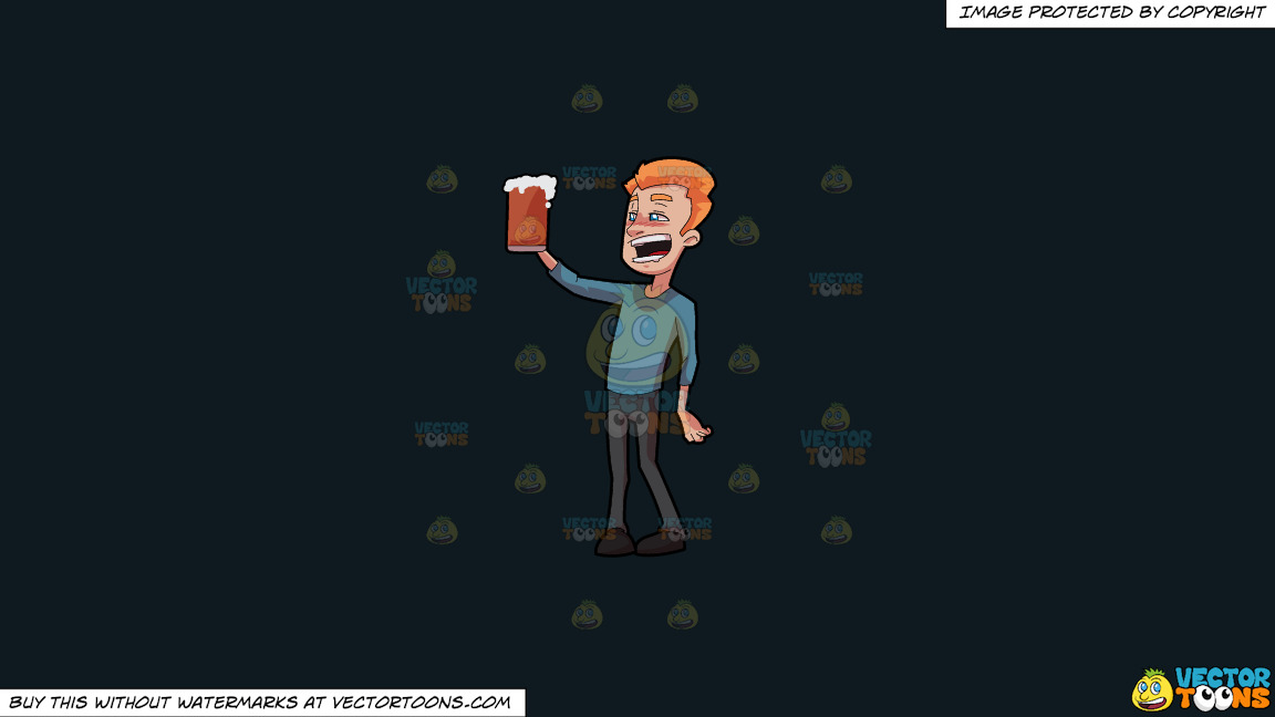 A Tipsy Man Enjoying A Full Mug Of Beer On A Solid Off Black 0f1a20 Background thumbnail