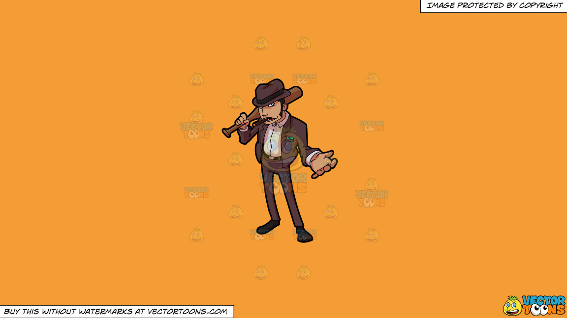 A Tough Bill Collector Smoking A Tobacco On A Solid Deep Saffron Gold F49d37 Background thumbnail