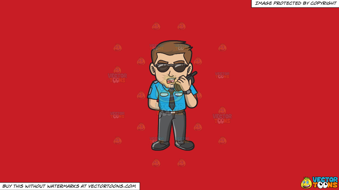 A Tough Looking Male Airport Security Guard On A Solid Fire Engine Red C81d25 Background thumbnail