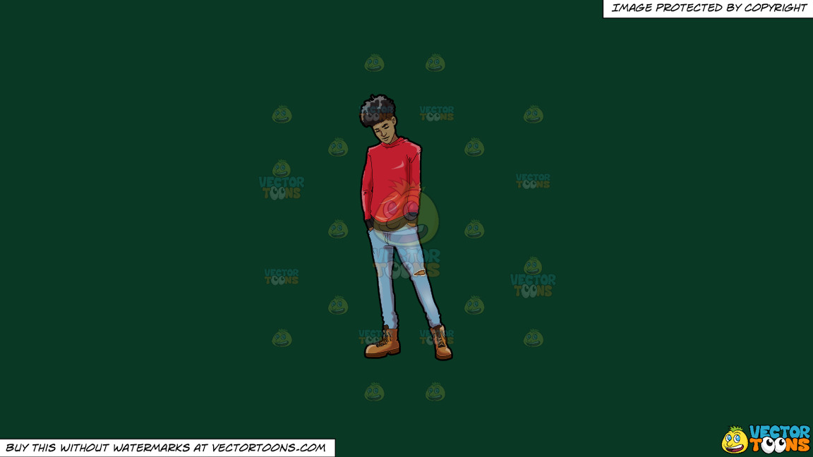 A Trendy Chilled Out Black Guy On A Solid Dark Green 093824 Background thumbnail