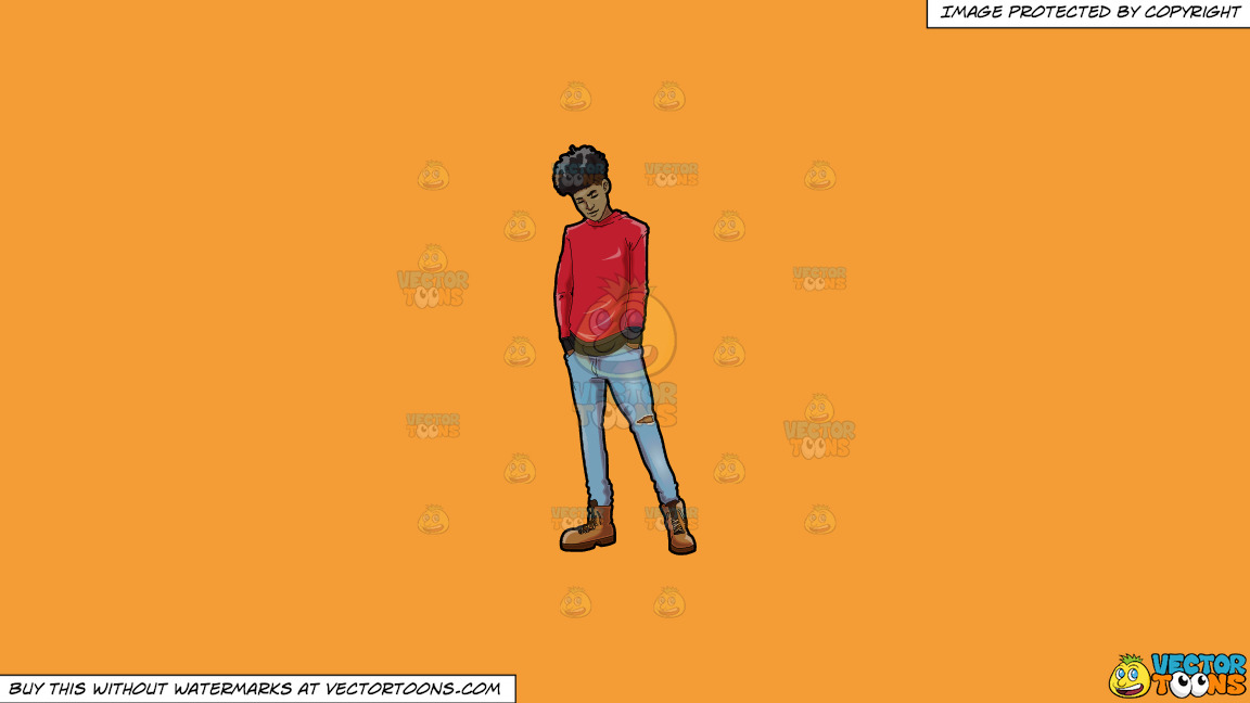 A Trendy Chilled Out Black Guy On A Solid Deep Saffron Gold F49d37 Background thumbnail