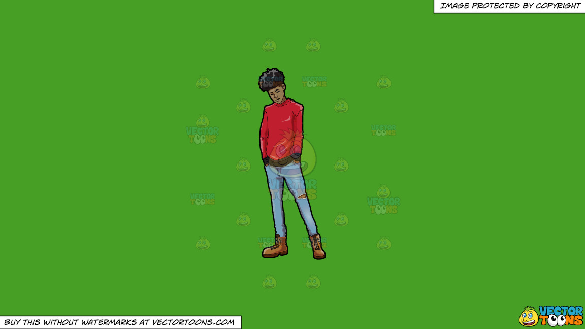 A Trendy Chilled Out Black Guy On A Solid Kelly Green 47a025 Background thumbnail