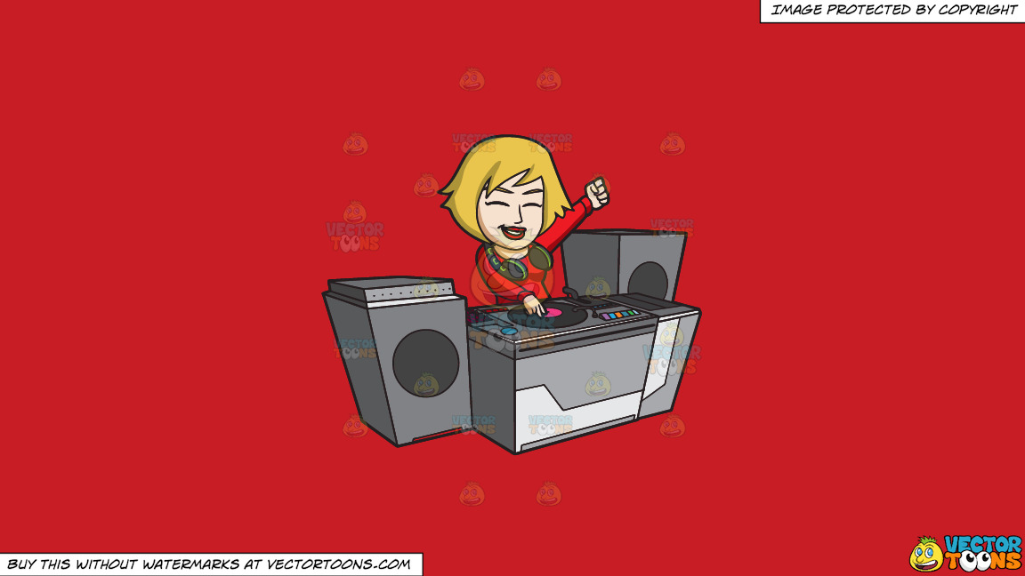 A Very Ecstatic Female Dj On A Solid Fire Engine Red C81d25 Background thumbnail