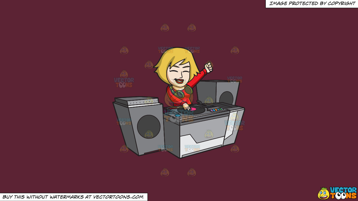 A Very Ecstatic Female Dj On A Solid Red Wine 5b2333 Background thumbnail