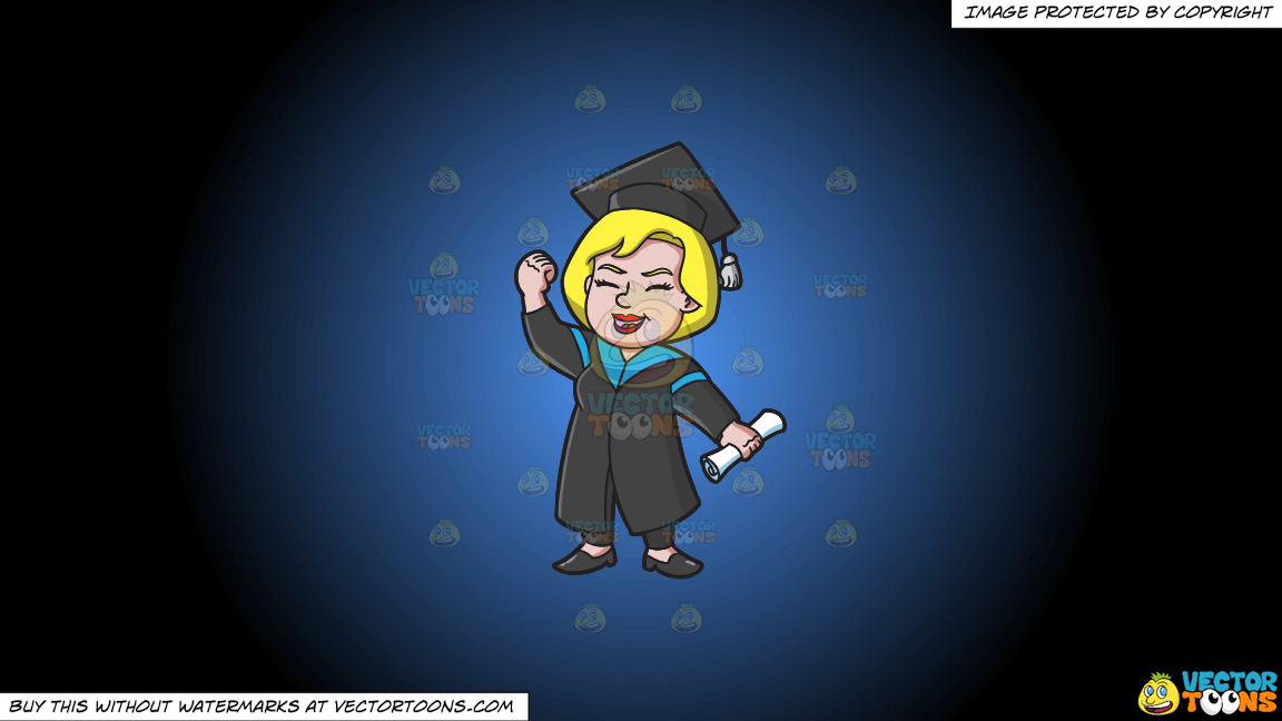 A Very Happy Woman Who Just Graduated On A Blue And Black Gradient Background thumbnail