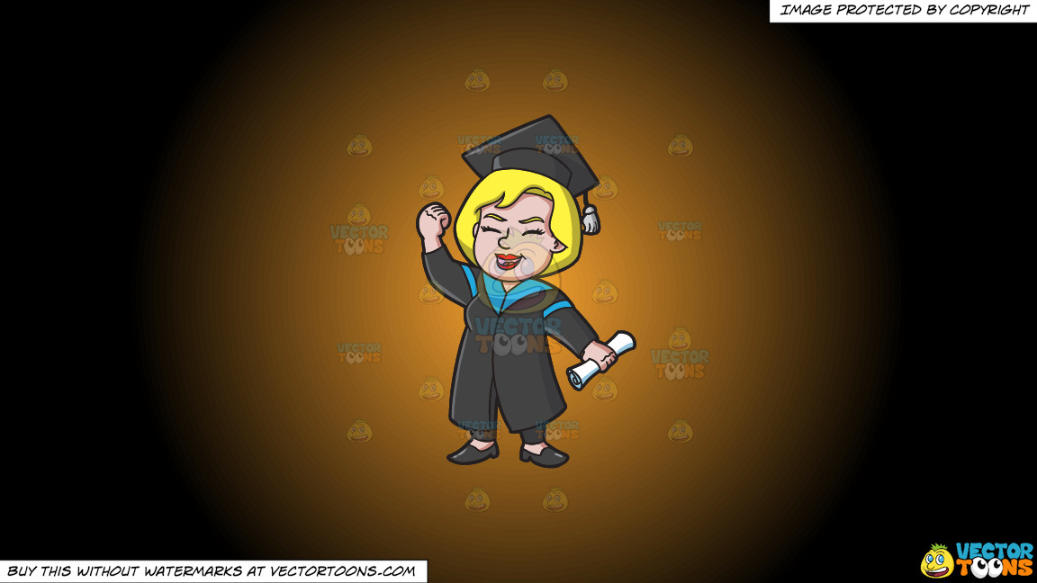 A Very Happy Woman Who Just Graduated On A Orange And Black Gradient Background thumbnail