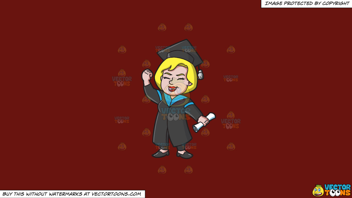 A Very Happy Woman Who Just Graduated On A Solid Maroon 69140e Background thumbnail