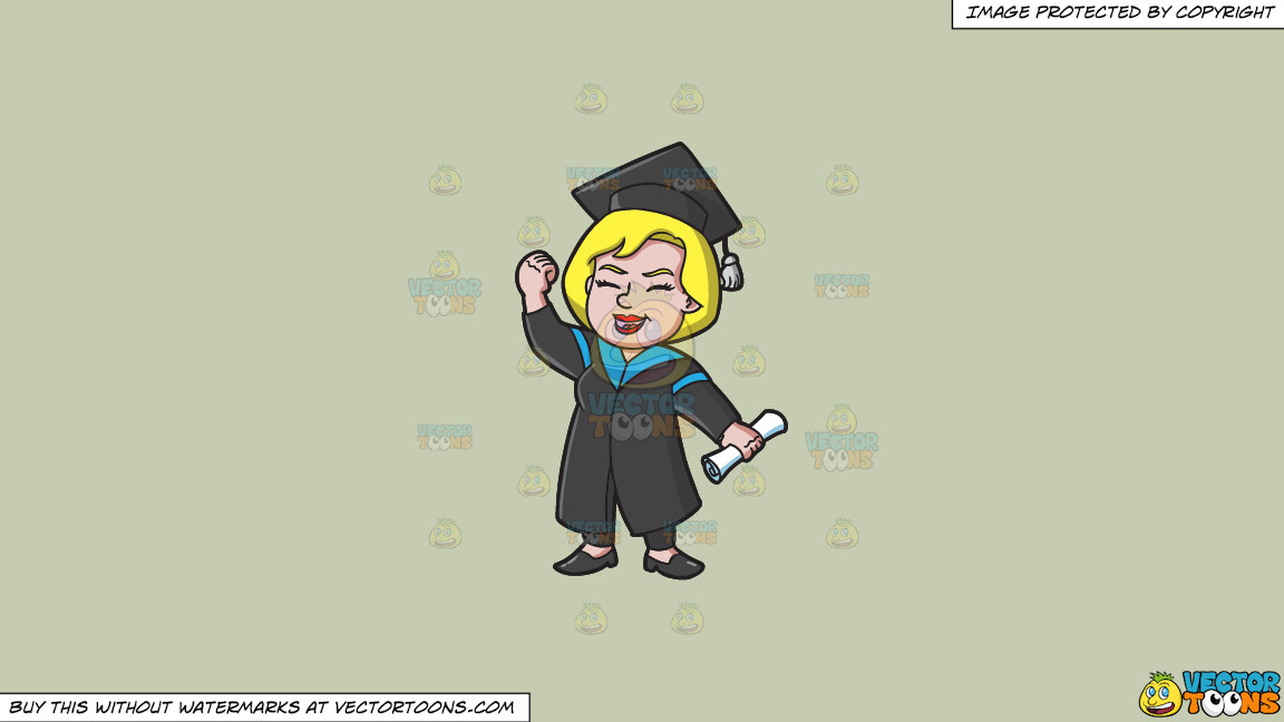 A Very Happy Woman Who Just Graduated On A Solid Pale Silver C6ccb2 Background thumbnail