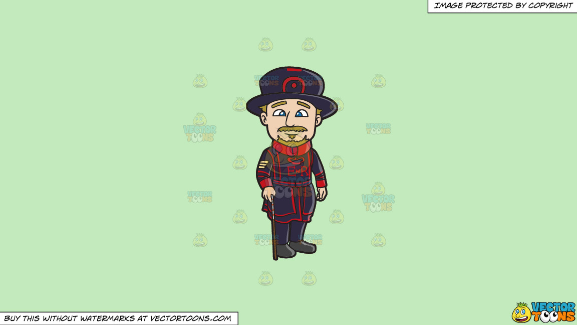 A Veteran Beefeater With His Cane On A Solid Tea Green C2eabd Background thumbnail