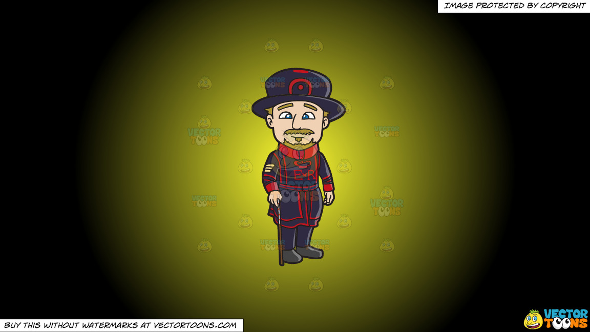 A Veteran Beefeater With His Cane On A Yellow And Black Gradient Background thumbnail