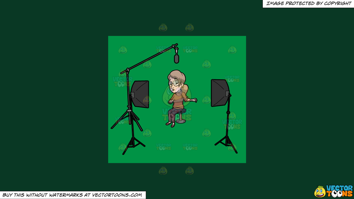 A Veteran Female Host In A Studio On A Solid Dark Green 093824 Background thumbnail