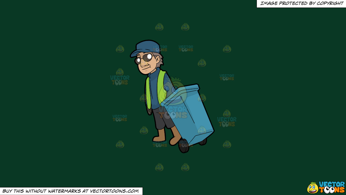 A Veteran Male Sanitation Worker On A Solid Dark Green 093824 Background thumbnail