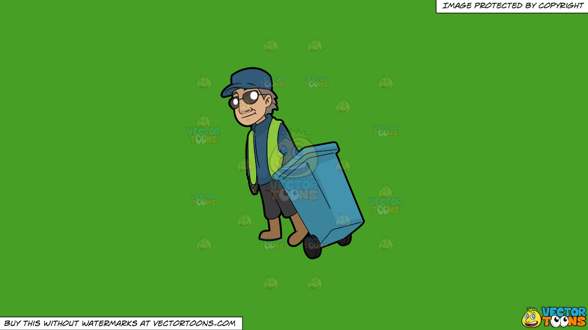 A Veteran Male Sanitation Worker On A Solid Kelly Green 47a025 Background thumbnail