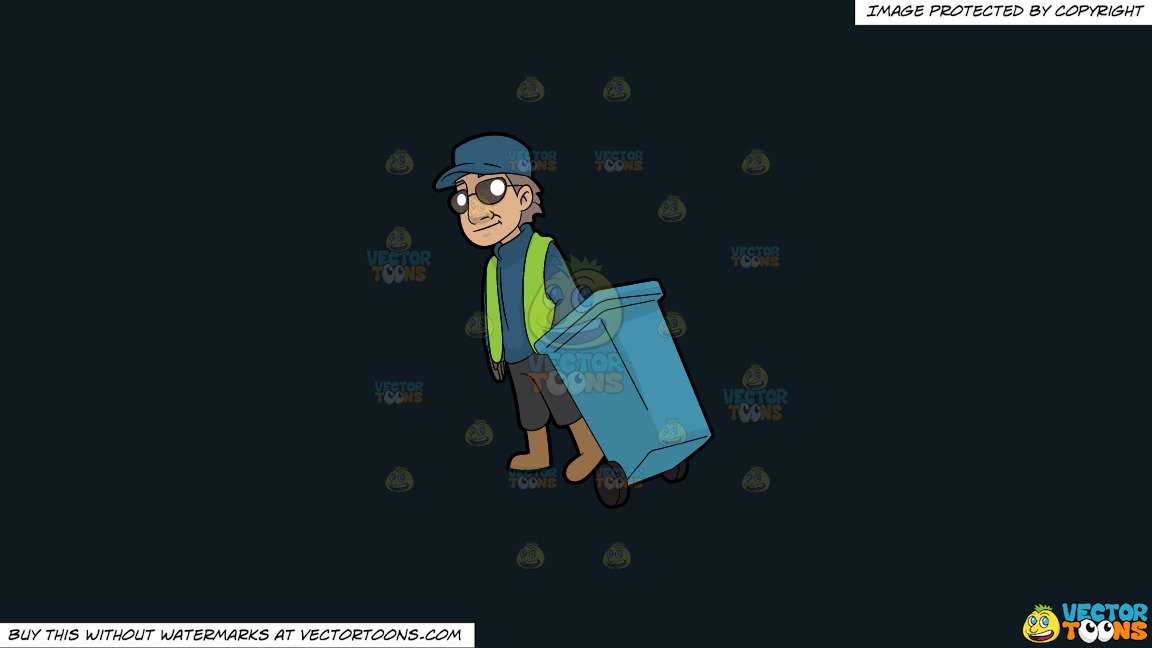 A Veteran Male Sanitation Worker On A Solid Off Black 0f1a20 Background thumbnail