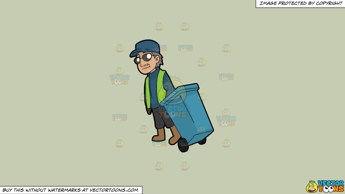 A Veteran Male Sanitation Worker On A Solid Pale Silver C6ccb2 Background thumbnail