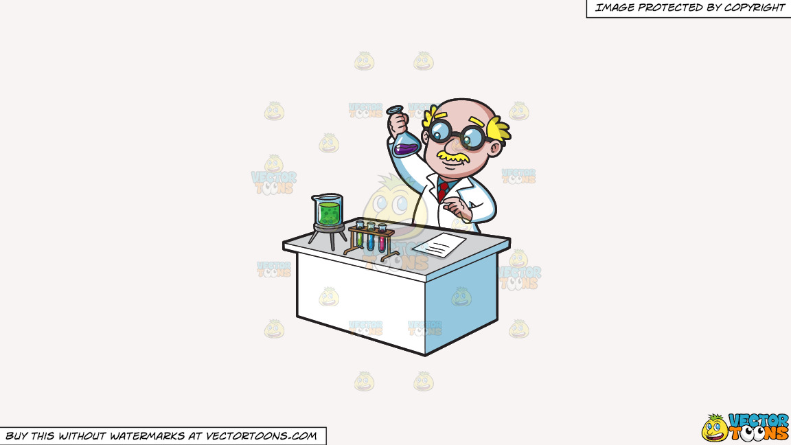 A Veteran Scientist Studying Liquids On A Solid White Smoke F7f4f3 Background thumbnail
