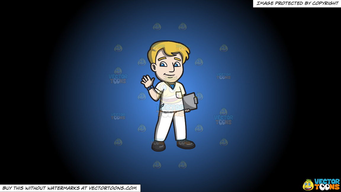A Warm And Friendly Male Staff Nurse On A Blue And Black Gradient Background thumbnail