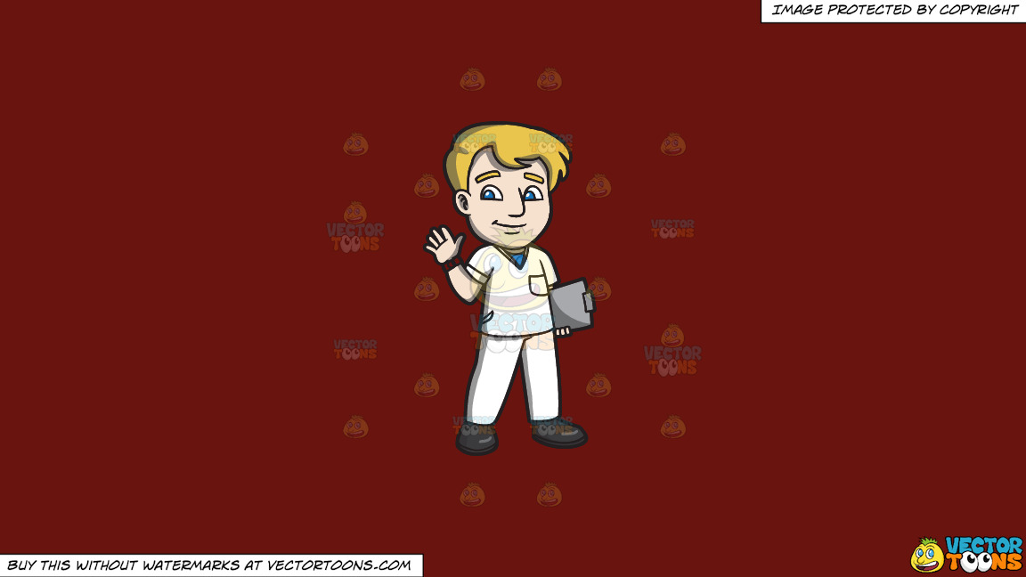 A Warm And Friendly Male Staff Nurse On A Solid Maroon 69140e Background thumbnail