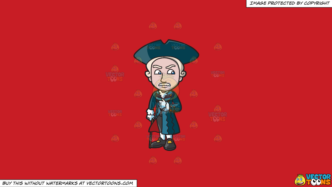 A Well Dressed Colonial Man On A Solid Fire Engine Red C81d25 Background thumbnail