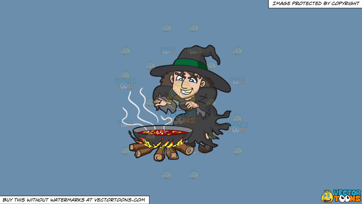 A Witch Casting A Spell On A Solid Shadow Blue 6c8ead Background thumbnail