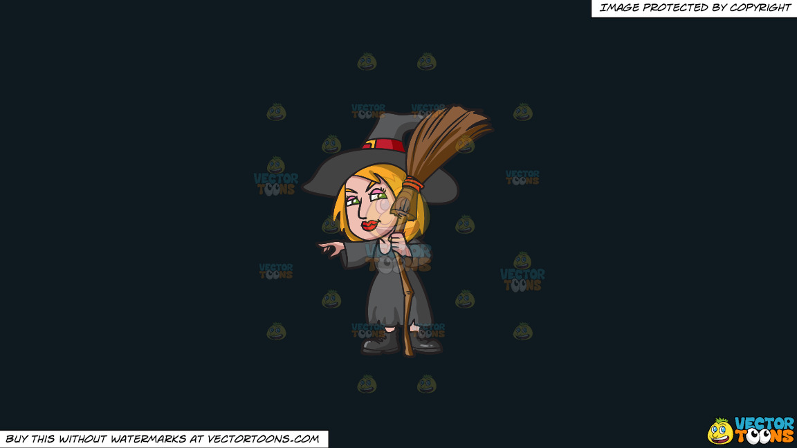 A Witch Pointing At Something On A Solid Off Black 0f1a20 Background thumbnail