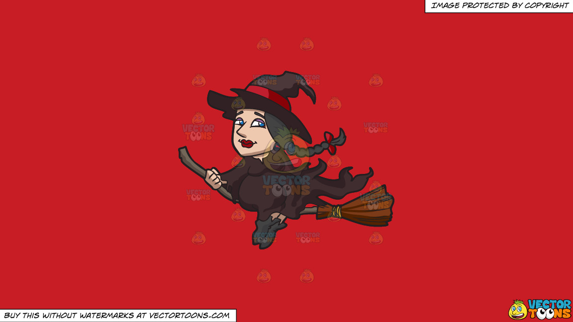 A Witch Riding A Broom On A Solid Fire Engine Red C81d25 Background thumbnail