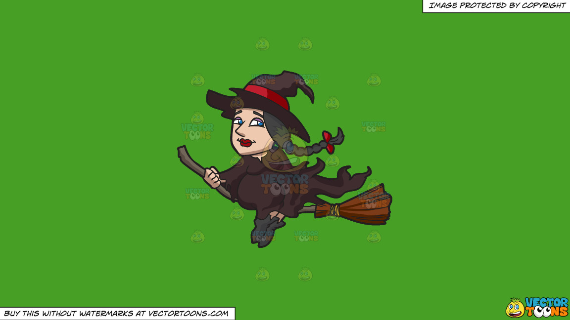 A Witch Riding A Broom On A Solid Kelly Green 47a025 Background thumbnail