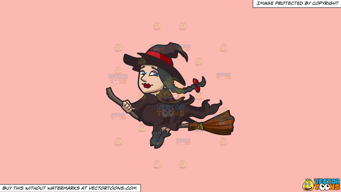 A Witch Riding A Broom On A Solid Melon Fcb9b2 Background thumbnail