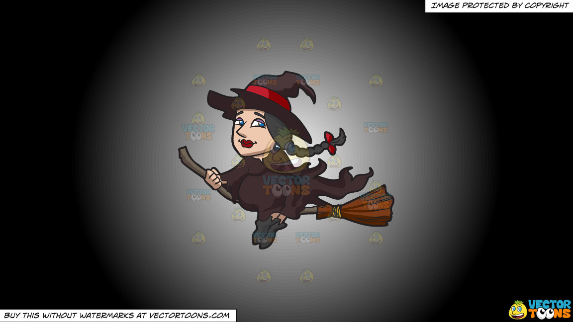 A Witch Riding A Broom On A White And Black Gradient Background thumbnail