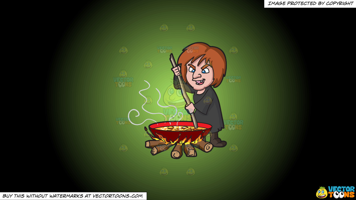 A Witch Stirring A Mixture In A Big Pot Over The Fire On A Green And Black Gradient Background thumbnail