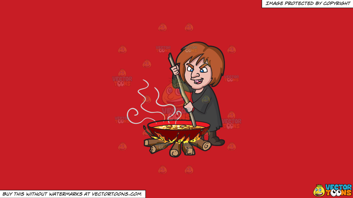 A Witch Stirring A Mixture In A Big Pot Over The Fire On A Solid Fire Engine Red C81d25 Background thumbnail