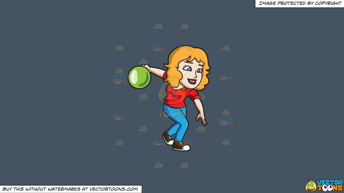 A Woman About To Roll A Bowling Ball On A Solid Metal Grey 465362 Background thumbnail