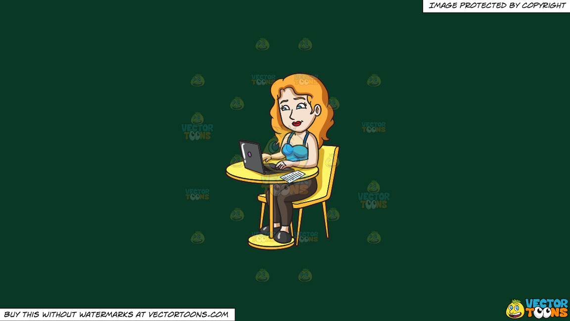 A Woman Accessing Her Online Banking Account To Pay Bills On A Solid Dark Green 093824 Background thumbnail