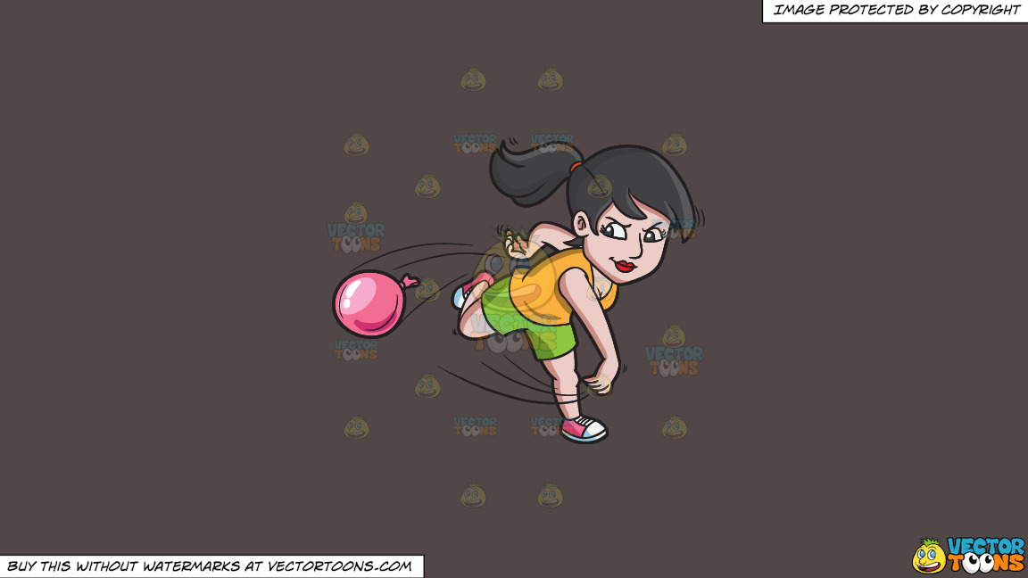 A Woman Aggressively Throws A Water Balloon On A Solid Quartz 504746 Background thumbnail