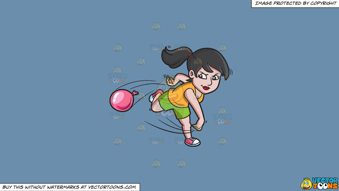A Woman Aggressively Throws A Water Balloon On A Solid Shadow Blue 6c8ead Background thumbnail