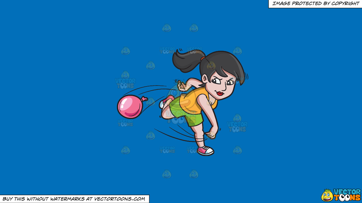 A Woman Aggressively Throws A Water Balloon On A Solid Spanish Blue 016fb9 Background thumbnail
