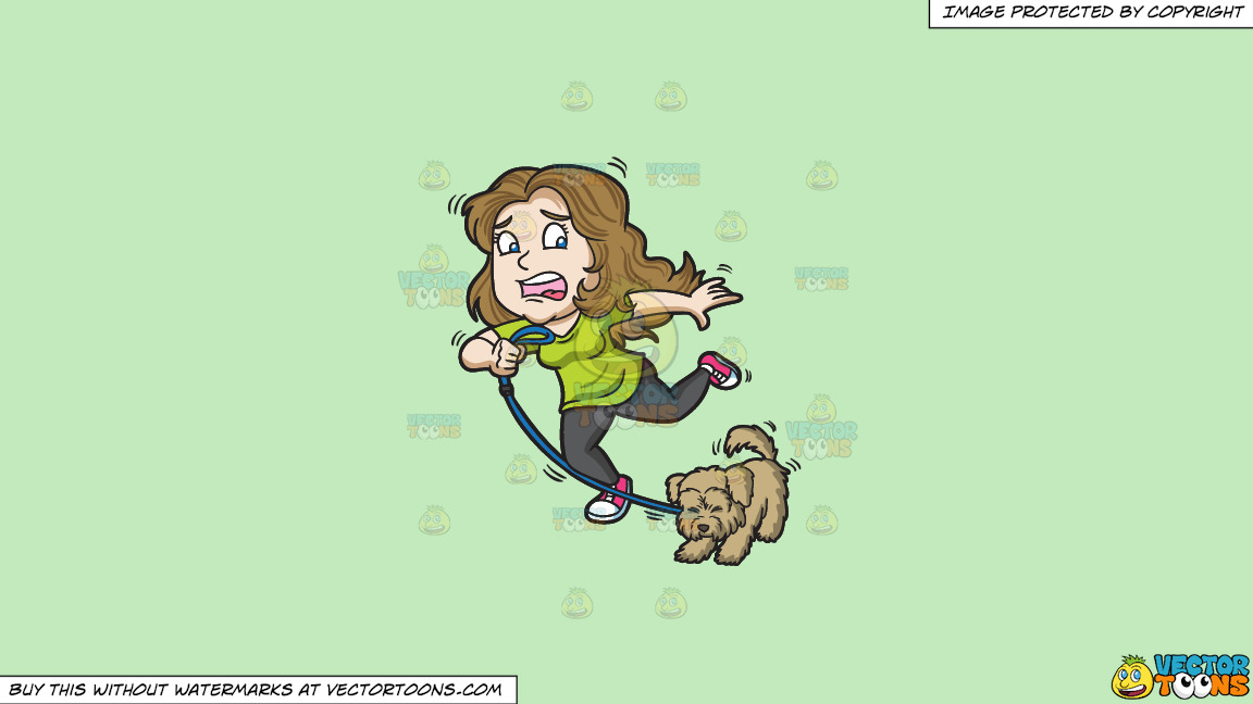 A Woman And Her Dog Stopping Abruptly On A Solid Tea Green C2eabd Background thumbnail