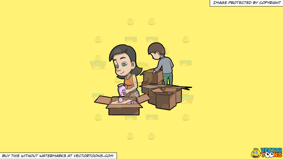 A Woman Arranging Her Jars Inside The Box On A Solid Sunny Yellow Fff275 Background thumbnail