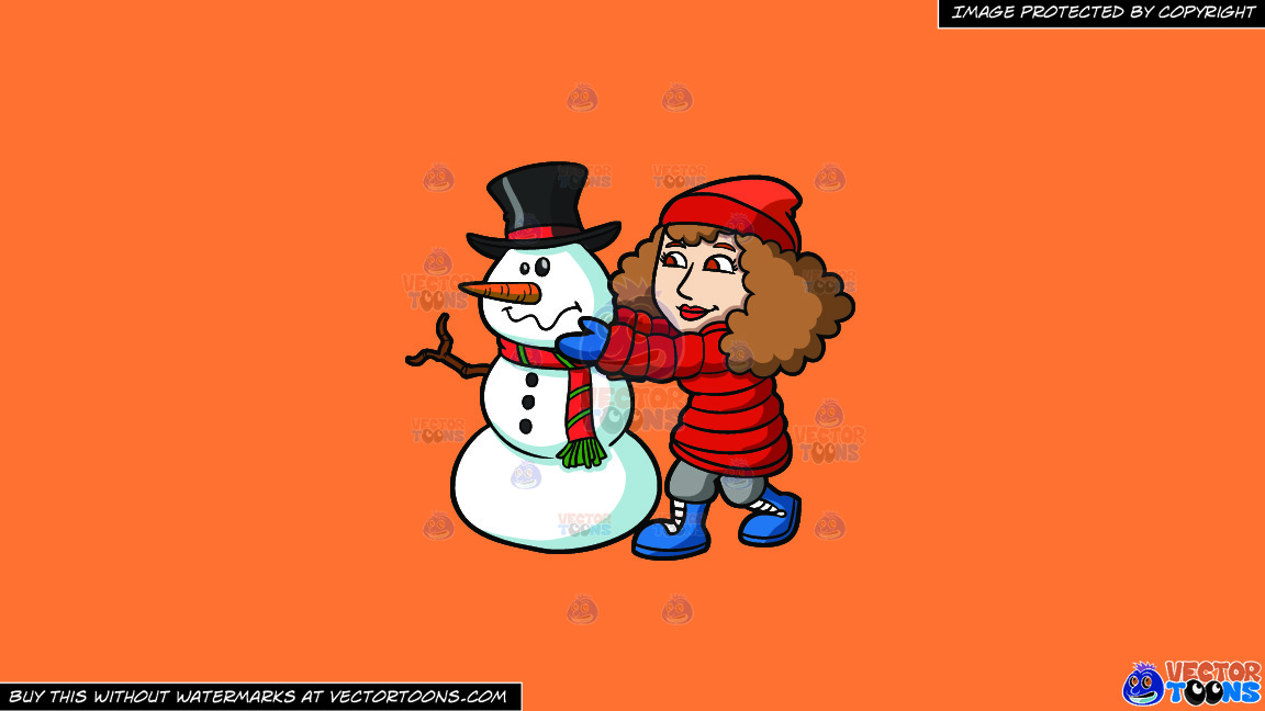 A Woman Arranging The Head Of A Snowman On A Solid Mango Orange Ff8c42 Background thumbnail
