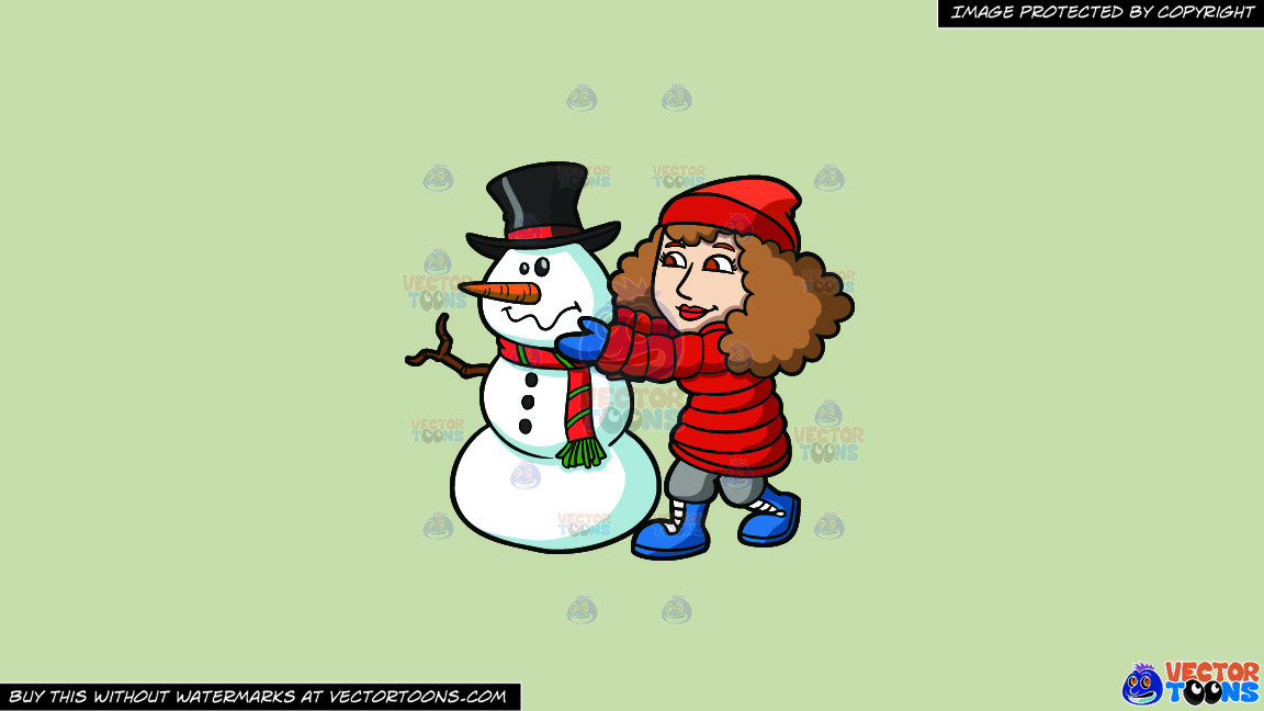 A Woman Arranging The Head Of A Snowman On A Solid Pale Silver C6ccb2 Background thumbnail
