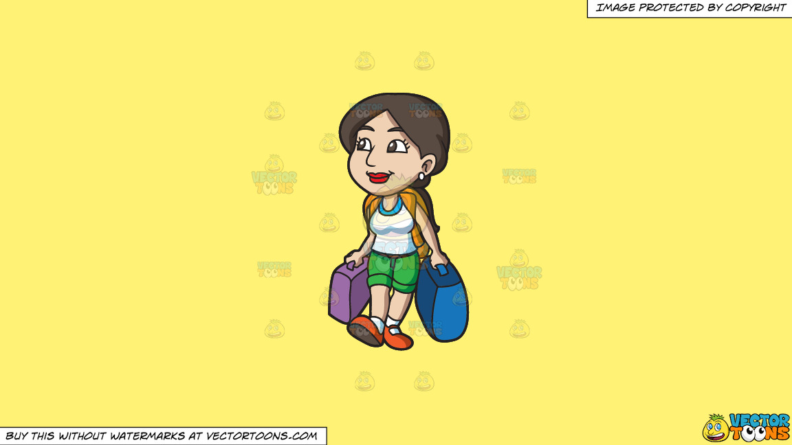 A Woman Arrives To A New City On A Solid Sunny Yellow Fff275 Background thumbnail