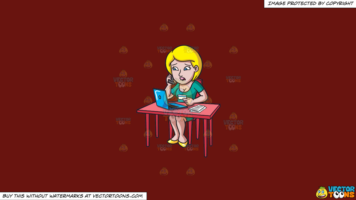 A Woman Calling Customer Service About Her Credit Card On A Solid Maroon 69140e Background thumbnail