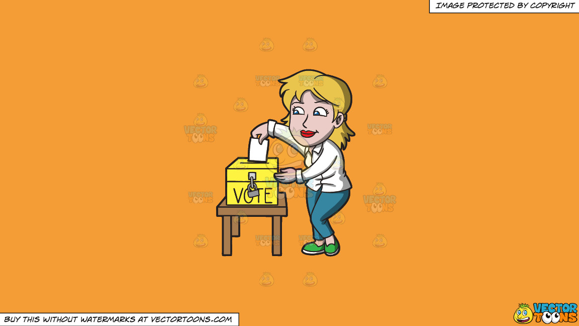 A Woman Carefully Drops Her Ballot In The Ballot Box On A Solid Deep Saffron Gold F49d37 Background thumbnail