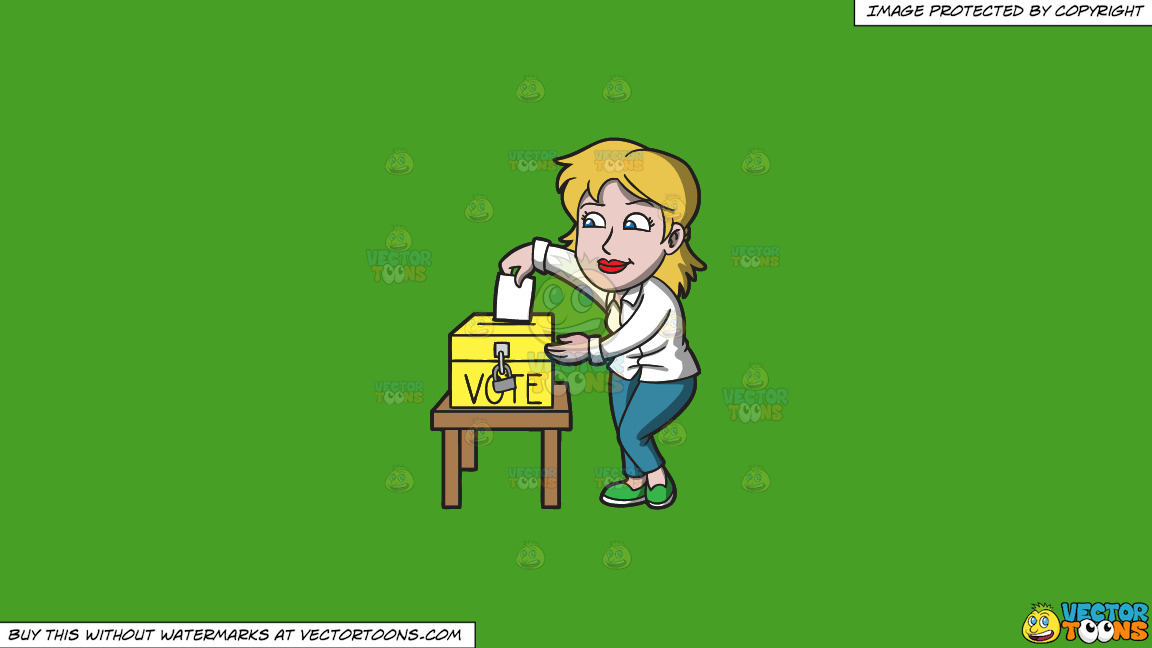A Woman Carefully Drops Her Ballot In The Ballot Box On A Solid Kelly Green 47a025 Background thumbnail