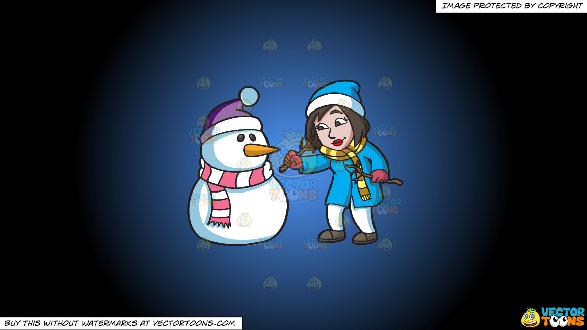 A Woman Carefully Placing The Arms Of A Snowman On A Blue And Black Gradient Background thumbnail