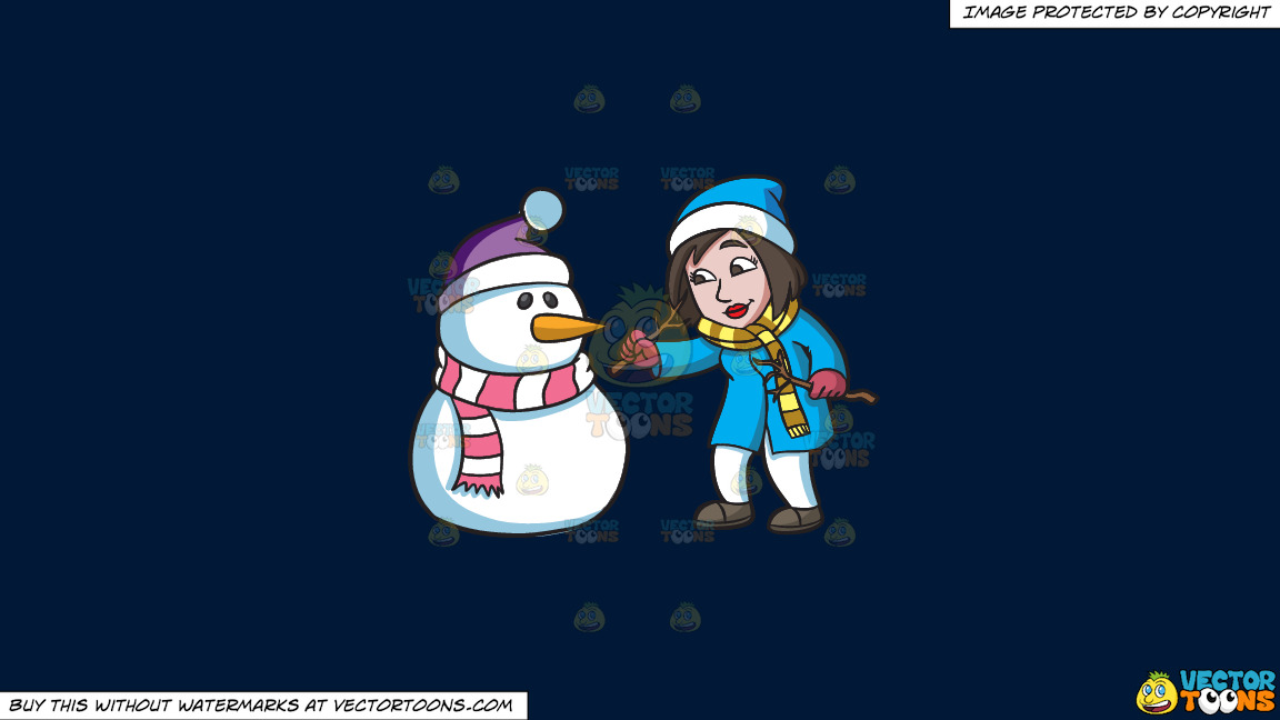 A Woman Carefully Placing The Arms Of A Snowman On A Solid Dark Blue 011936 Background thumbnail